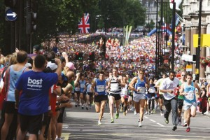 British 10km run. Press photo of runners.