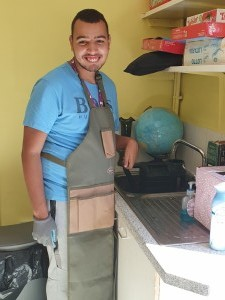 Tariq with apron